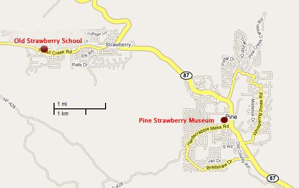 Local Area Map Pine Strawberry Arizona